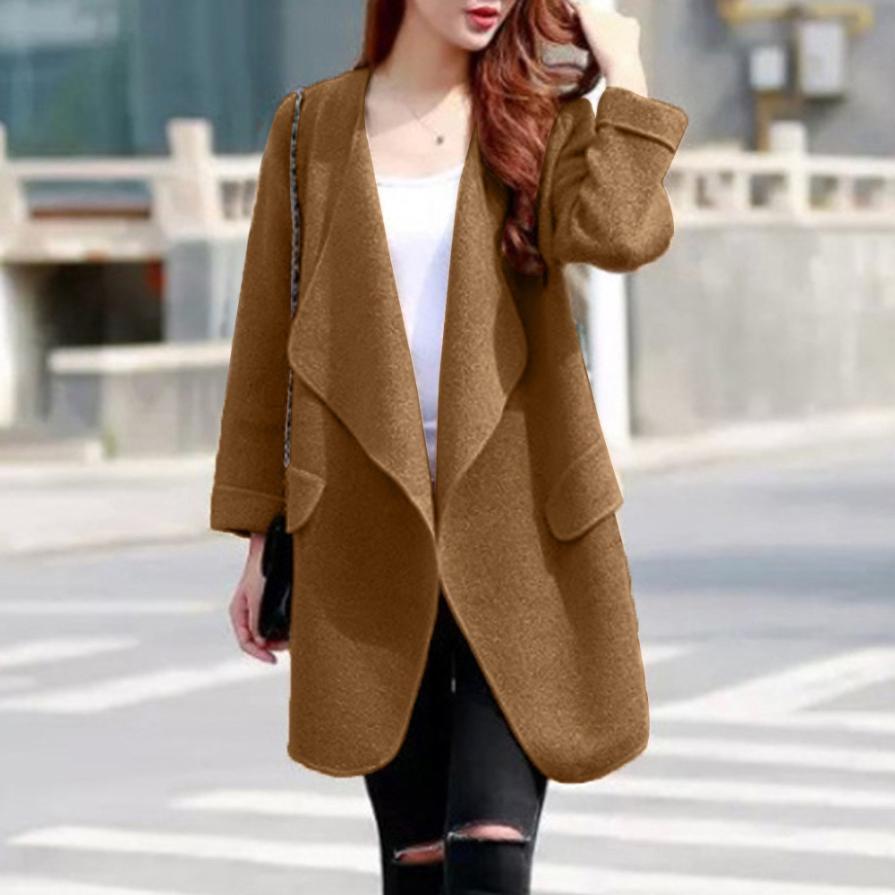30102054f5980 Warm Winter Women Coat Long Sleeve Knitted Wool Cardigan Solid Large Turn  down Collor Long Sweater Outwear casaco feminino-in Wool & Blends from  Women's ...