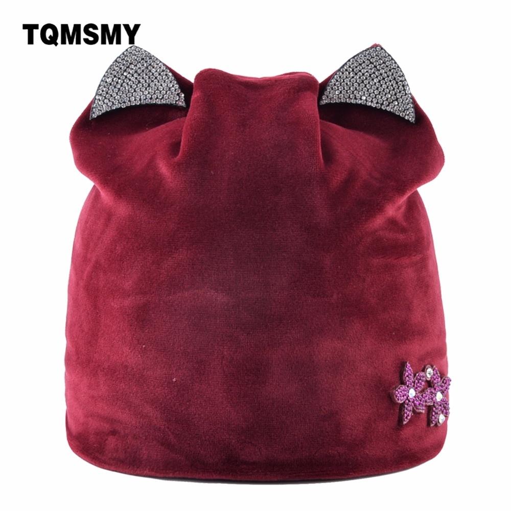 TQMSMY Cat Ear Velvet Warm Winter Hat For Women Rhinestone   Skullies     Beanies   Knitting Hat Ladies Cap Women's   Beanie   Hats TMDH82