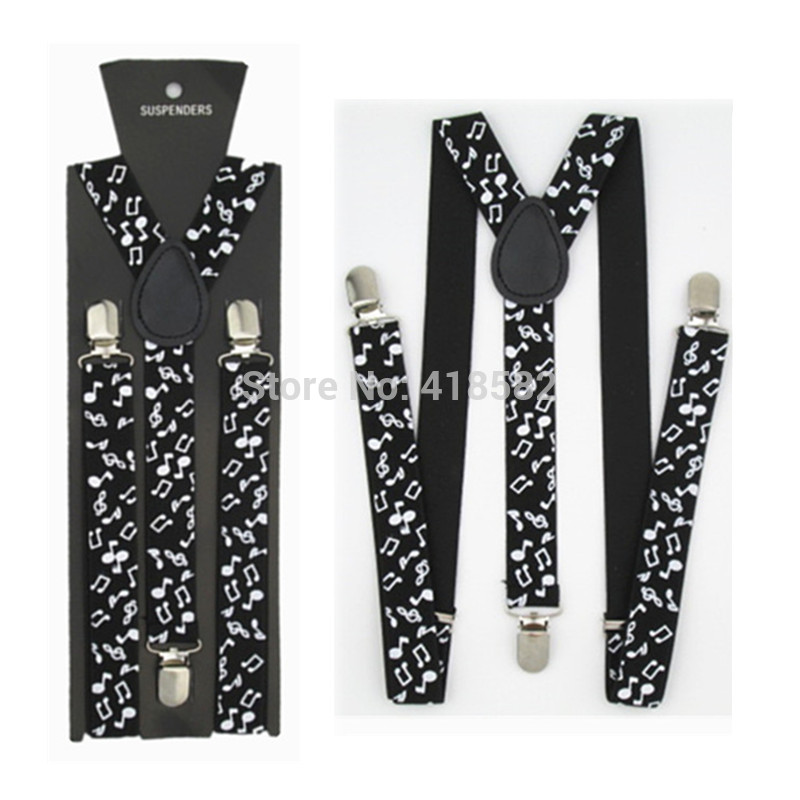 BD018-L Size 2016 New Mens Fashionable 1 Inch Wide Black White Musical Note Suspender Women Brace Free Shipping
