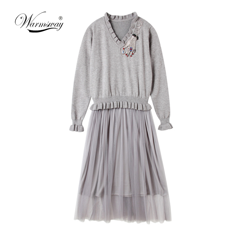 2018 Autumn New Fashion Women Ruffled V collar Sweaters Dress Beaded Hand Diamond top mesh tulle facke two pieces dresses C 241