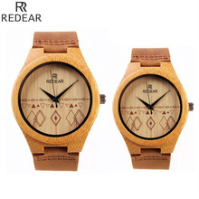 Simple Bamboo Analog Quartz Nature Wood Wrist Watch Women Ladies Hot Bangle Genuine Leather Band Strap