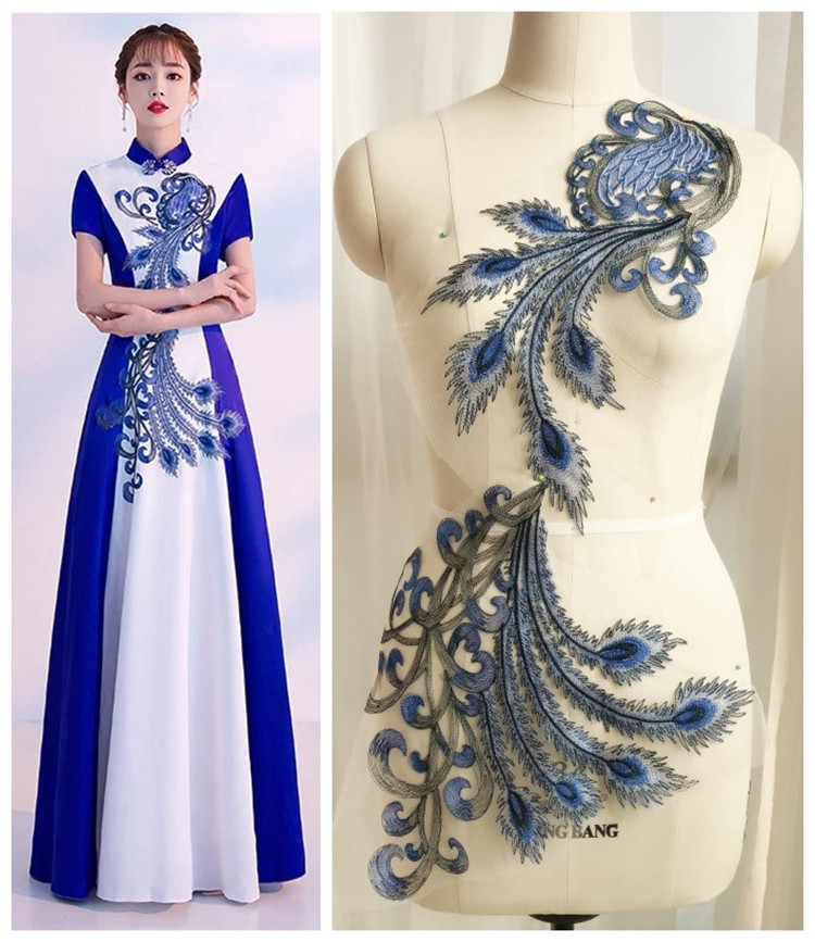 large Super gorgeous Blue and white porcelain flower embroidery lace patch yarn Applique for DIY Wedding dress