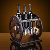 Creative Round wood wine rack European fashion bar wine rack wine glass holder