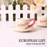 40 ملليلتر لطيف الوردي الأميرة السيراميك مصغرة إسبرسو القهوة القدح قدح القهوة الشاي الأسود الصغيرة