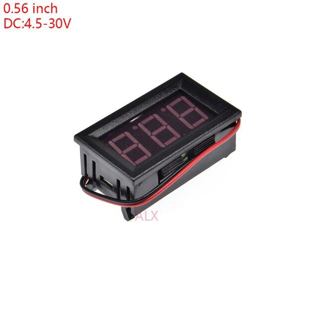 """1 шт. два провода 0.56 """"Красный светодиодный цифровой вольтметр 0.56 дюймов ЖК-дисплей DC 4.5-30 В Напряжение метр мониторы тестер"""