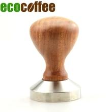 Ecocoffee freeshipping Holzgriff 304 edelstahl Kaffee Tamper 49 51 53 54 55 57 58 MM flache basis palisander