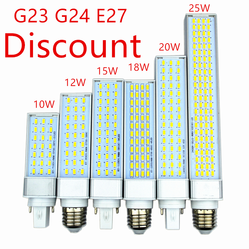 Discount G23 G24 E27 Led Lamp Bulb 10W 21Led 12W 27Led 15W 36Led 18W 48led 5730 LED Light Warm Cool White Spotlight 180 Degree