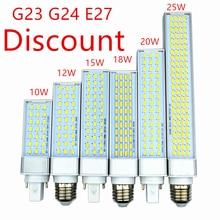 Indirim g23 g24 e27 led lamba ampulü 10W 21Led 12W 27Led 15W 36Led 18W 48led 5730 LED ışık sıcak soğuk beyaz spot 180 derece