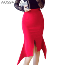 AOSSVIAO High Waist Skirt 2019 New Sexy Women Evening Party Skirt Black Red Celebrity Knee-Iength Mermaid Bodycon Bandage Skirts print trimmed bodycon mermaid skirt