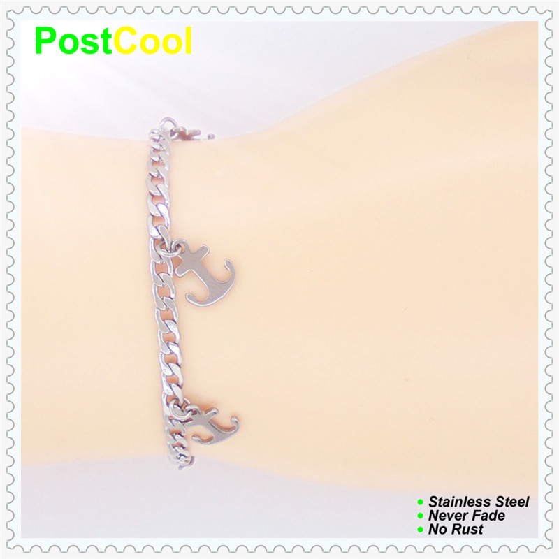 Jewelry Forever Quality 100% Stainless Steel Charm Bracelet Anklets Lovely Ships Anchor Design Never Fade Chain Width 4mm Dae Refreshment Jewelry & Accessories