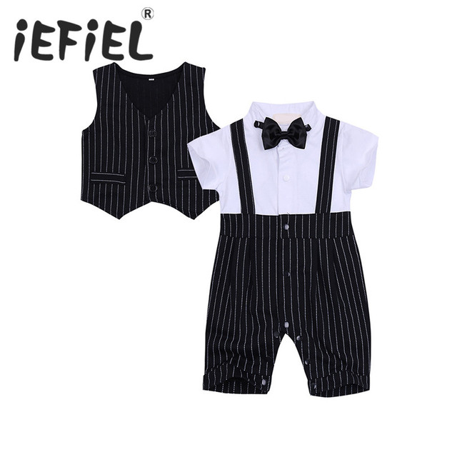 23bcb5364bf5 2PCS Baby Boys Short Sleeve Bowtie Striped Gentleman Rompers with ...