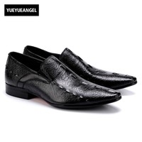 Slip On Low Heel Pointed Toe Mens Formal Shoes Male Footwear Hot Sale Fashion New Vintage