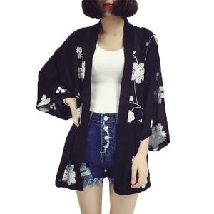 Embroidery Women Summer Chiffon White Black Cardigan Female