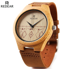 REDEAR Wooden Watch Men Watches Top Brand Luxury Men's Natural Bamboo Wood Watches Waterproof Clock Male Dress Wristwatches 2016