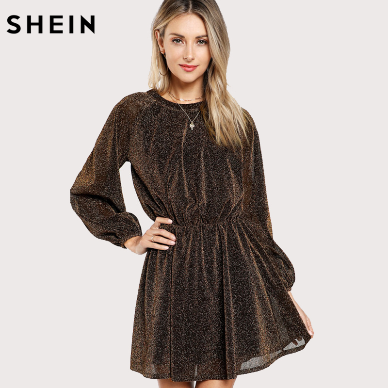 SHEIN Party Dress Gold Autumn Women Dresses Cut Out Vintage Elegant Bishop Sleeve Mesh Sequin Transparent A Line Dress