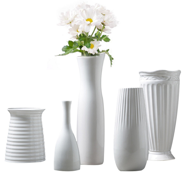 Classic White Ceramic Vase Chinese Arts And Crafts Decor Contracted ...