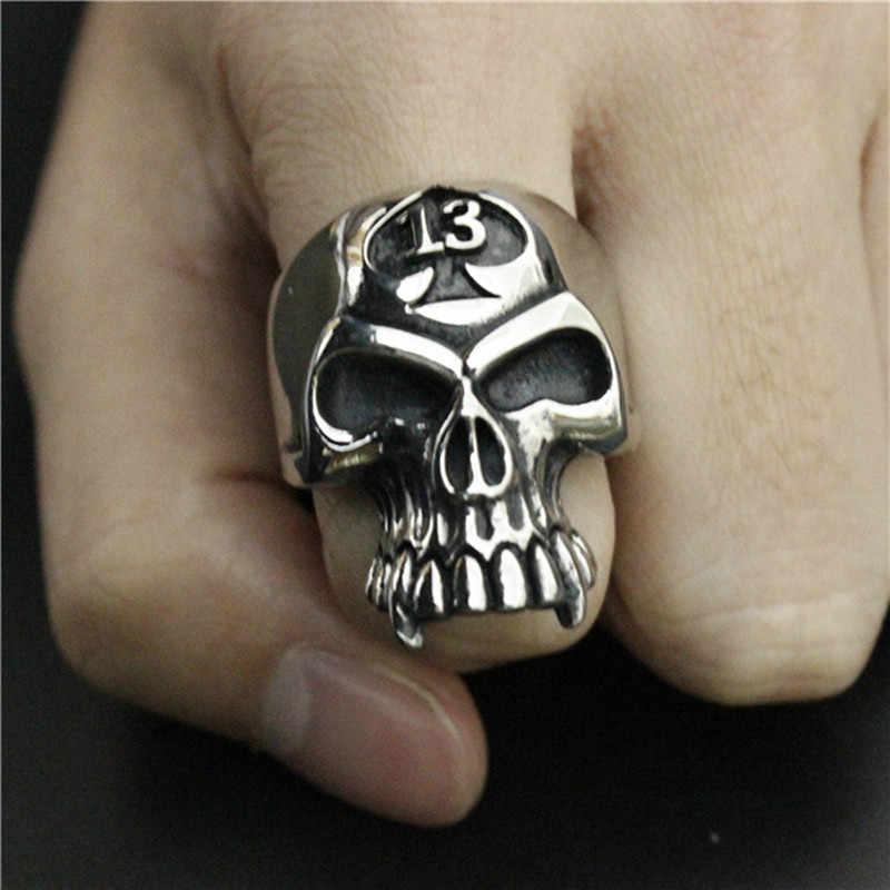 HNSP Lucky number 13 череп кольцо для мужчин личность панк готический Байкер ювелирные изделия мужской подарок Анель