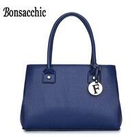 Bonsacchic PU Leather Women Bags Handbags Female Luxury Handbags Women Bags Designer Blue Bags For Women