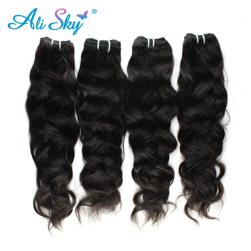 Hair-Extension Weaves Ali-Sky Black 100%Human-Hair Malaysian 4-Bunldle Can-Be-Dyed Non-Remy