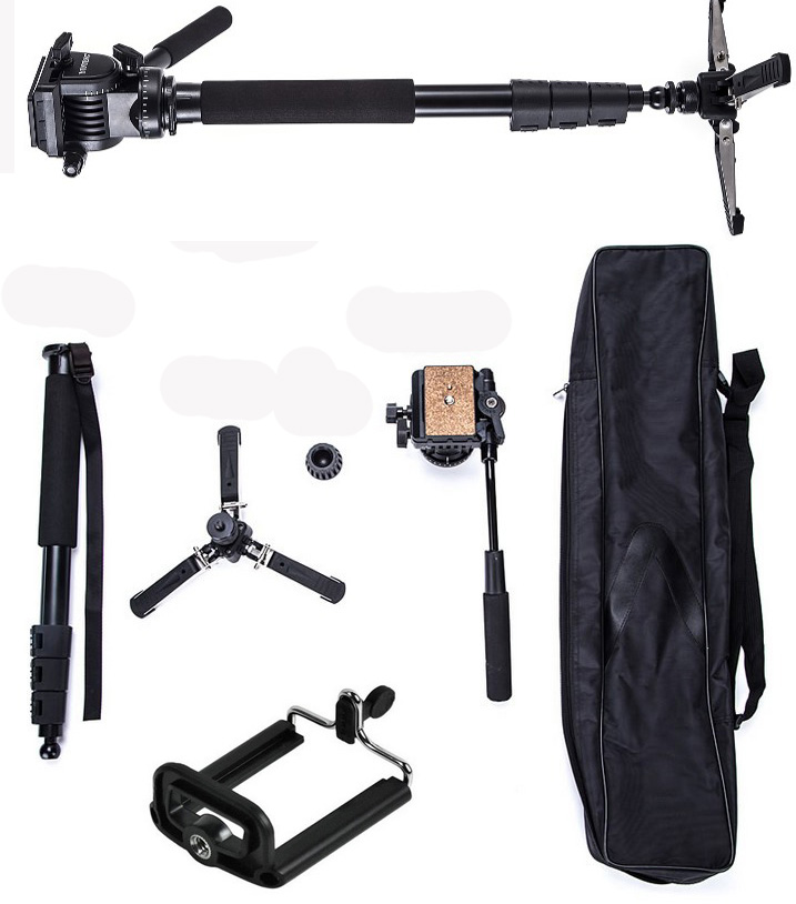 YUNTENG VCT 588 Pro Camera Fluid Drag Tripod Monopod for Canon Nikon Pentax DSLR