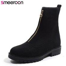цена на Smeeroon 2018 autumn winter boots women round toe high heels ankle boots zip high quality flock boots big size 33-43 black