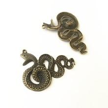 5Pcs/Lot 28mmx39mm Antique bronze snake  pendant charm Necklace Pendant DIY Charm Vintage Mini accessories connector