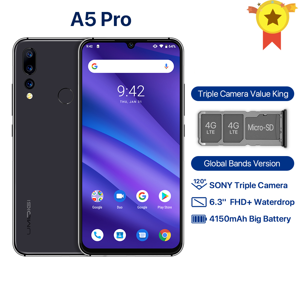 UMIDIGI A5 PRO Android 9.0 Celular Octa Core 6.3' FHD Waterdrop 16MP Triple Camera 4150mAh 4GB RAM 4G Smartphone Global Version