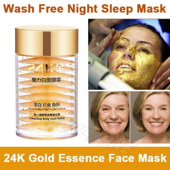 24K Active Gold Anti aging Wash Free Facial Sleep Mask Eliminate Wrinkle Cream Firming Skin Whitening Face Care Night Cream 135g