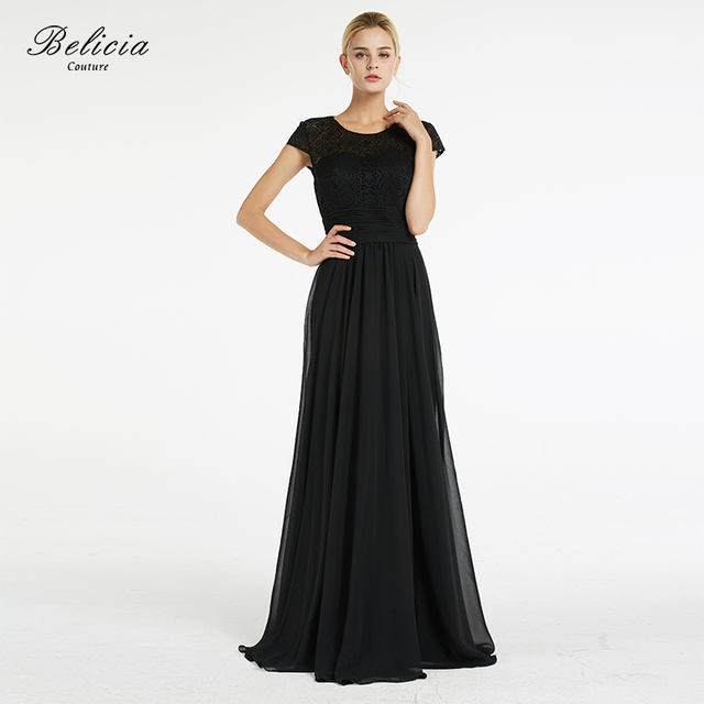 924eb0aba0fd9 Belicia Couture Mother Of The Bride Dresses Black Lace Elegant Evening  Dresses Chiffon O Neckline Short Sleeves Party Gowns-in Evening Dresses  from ...