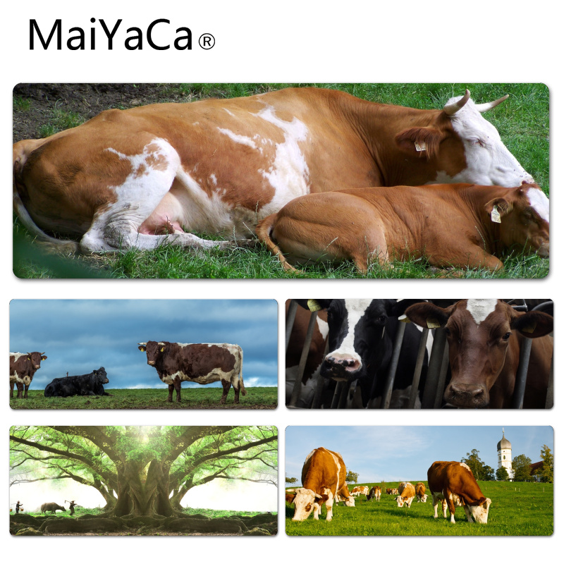 MaiYaCa Vintage Cool Cow on the meadow Anti-Slip Durable Silicone Computermats Size for 30x60cm 30x90cm Rubber Mouse Pad