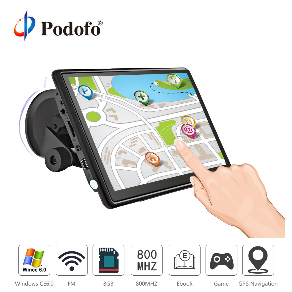 Podofo 7 inch HD Car GPS Navigation FM Win CE Capacitive screen 8GB Vehicle Truck GPS Car navigator automobile Map Free Upgrade emmaya luxury freshwater pearl bridal jewelry sets silver color earring necklace set wedding jewelry parure bijoux femme