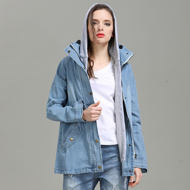 40a507a172b2a Denim Jacket Women Jacket Loose Hooded Top Cowboy Denim Jacket + Hooded  Sleeveless 2 Sets Jeans Outwear Women Coat Plus Size 4XL