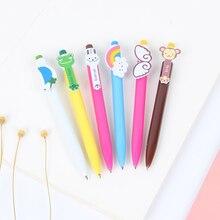 6 pcs Cartoon animal roller ball pen 0.5mm Ballpoint Blue color pens Cute rabbit Rainbow Stationery Office School supplies CB207