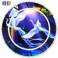 Sewing Thread 3d diy Diamond Wall Clock Patterned Bird Round & Square Diamond Cross Stitch Home Decorations Fresco Clock-MDH