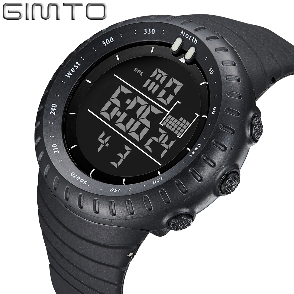 Gimto black digital sport watch men clock fashion military watches diving led silicone for Watches digital