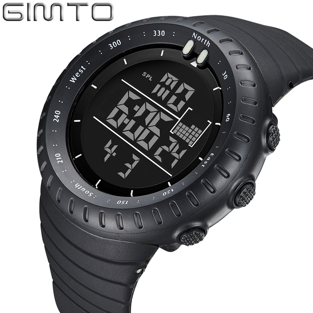 28deb856cd9 GIMTO Black Digital Sport Watch Men Clock Fashion Military Watches Diving  LED Silicone Wristwatch Waterproof Relogio Masculino