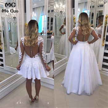 Illusion Long Sleeve Prom Dresses Long with Lace Appliques Button V-Neck Floor Length Tulle Puffy Formal Evening Party Dress