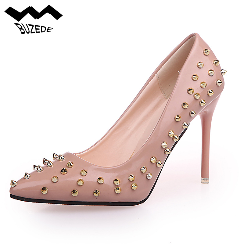 10 CM High Heels Pumps Rivet Women's Shoes Brilliant With Black Gold Sexy Girl Women Pink Rived PU Leather Women Shoes Pump 10CM