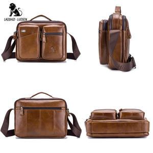 Image 3 - LAOSHIZI Bolso de hombro de cuero genuino bolsos cruzados para hombre bolsa cruzada