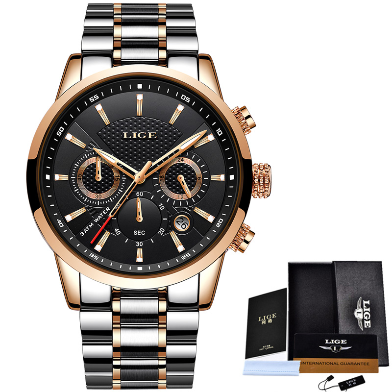 LIGE Mens Watches Business Fashion Top Brand Luxury Watch Men Sports Waterproof Stainless Steel Quartz Watch Relogio Masculino pu leather strap wrist watches for men luxury stainless steel dial quartz watch mens sports business watch relogio masculino lh