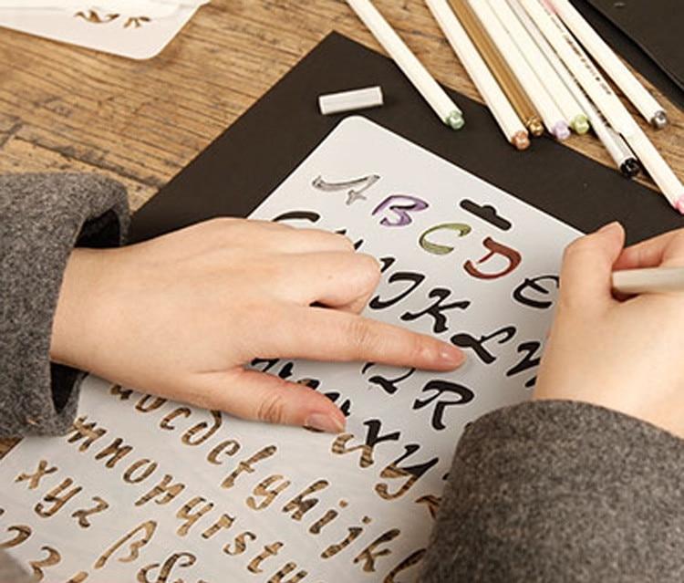 Dandelion / Butterfly / Flower / Number / Letter / Graffiti DIY Diary Bullet Journal Hand-painted Graphic Ruler
