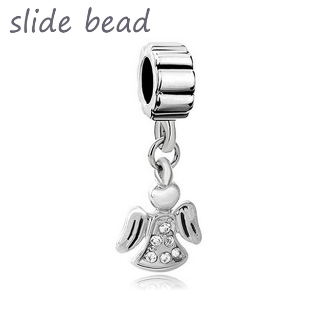 feb128c9c New Angel Wings With White April Births Fancy Charm Bracelet Spacer Dangle  suitable for Pandora bracelet is