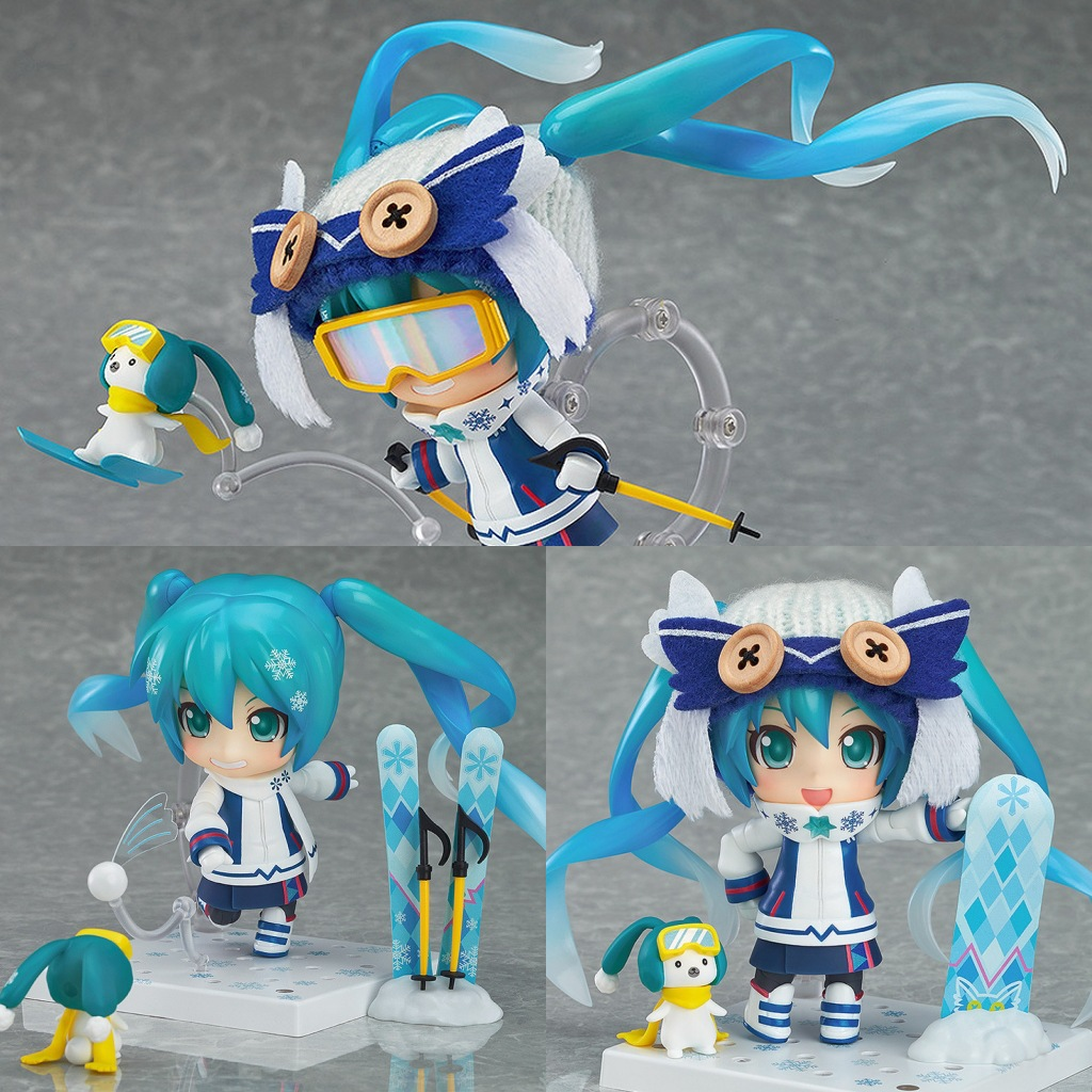 Cute Nendoroid 2016 Hatsune Miku Snow Miku 570# PVC Action Figure Collectible Model Toy 10cm KT2260 free shipping cute 4 nendoroid luck star izumi konata pvc action figure set model collection toy 27 mnfg032