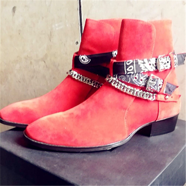 2018 High End Exclusive Chain Buckle Strap Graffiti Cloth Sexy Boots Red Suede Catwalk T show Luxury Men Boots