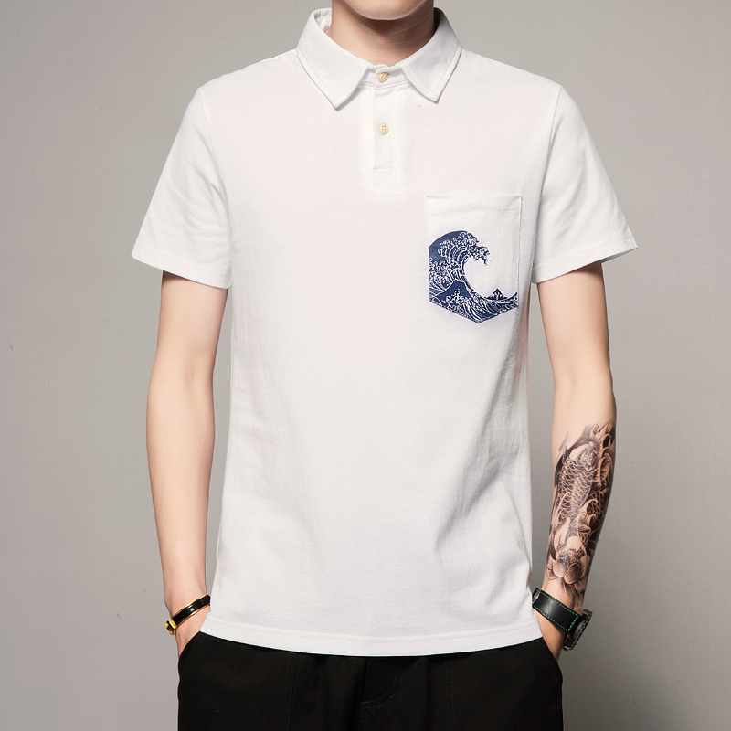 2018 New Men   POLO   Shirt Fashion Casual Japanese national printing   Polo   Short-sleeve   Polo   Male Summer Tops Large Size M-5XL