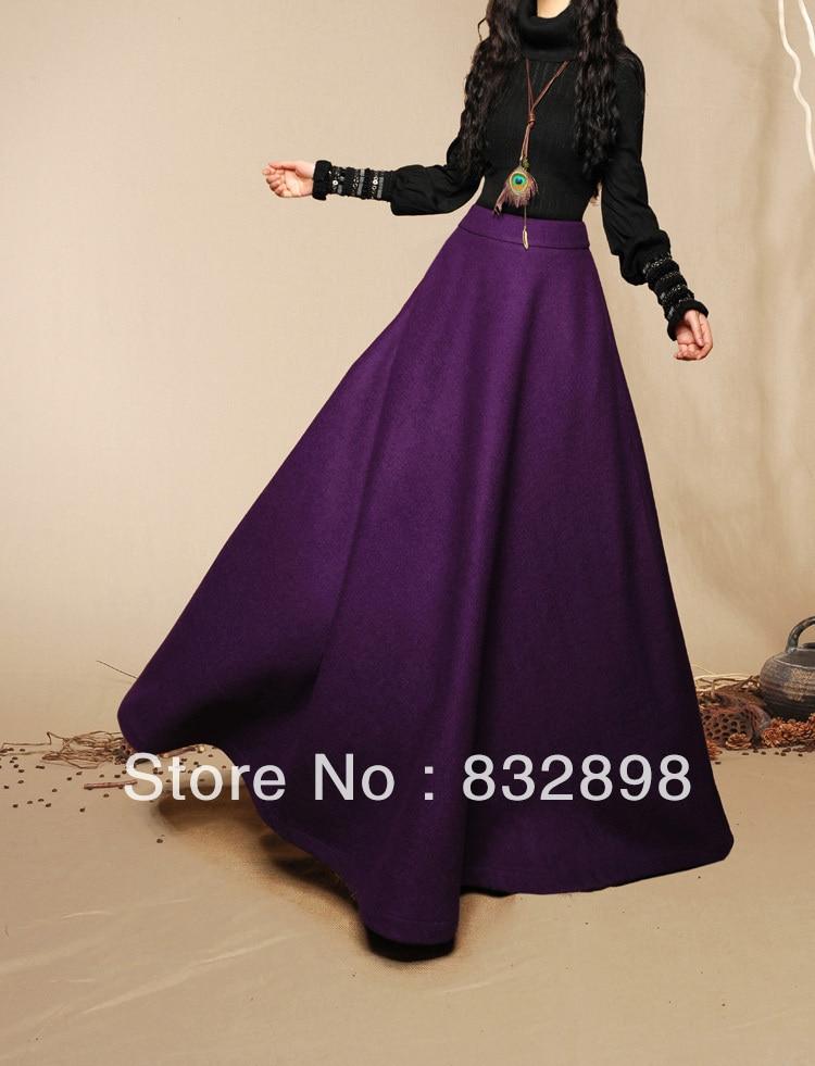 Sale New Fashion Folk Style womens Long skirts shirts winter ball gown Wool maxi waist Direct ...