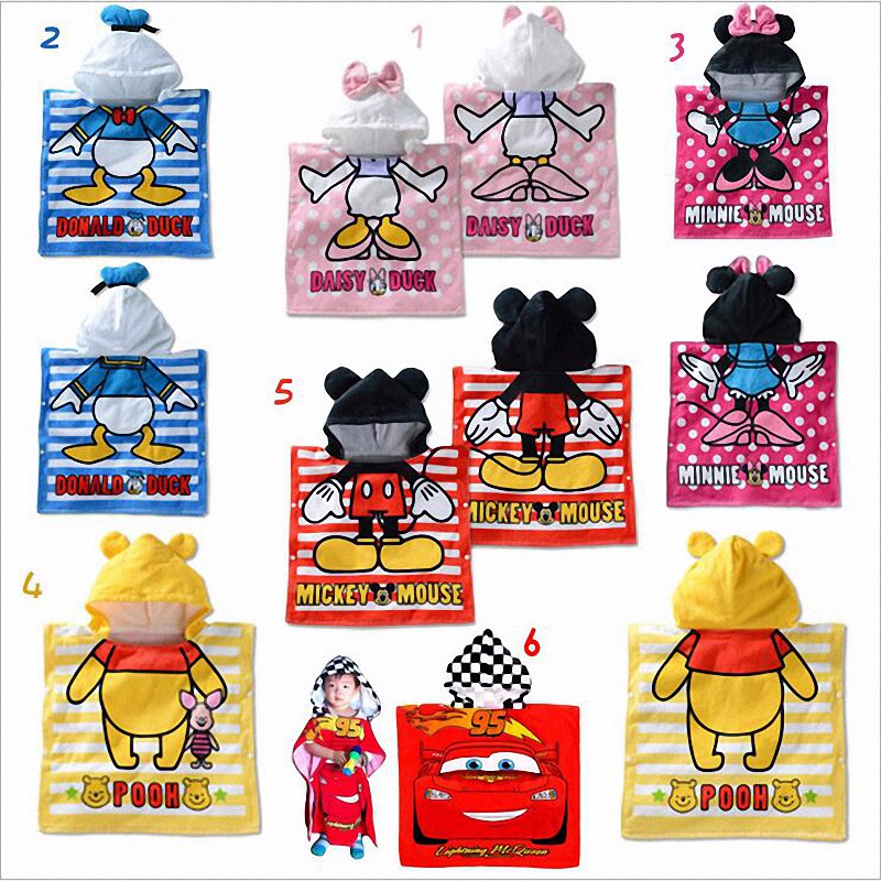 2016 Mickey Winne Hooded Baby Towels Kids Cartoon Bathrobe Bath Towel Infant Blanket Newborn Children Kinderen