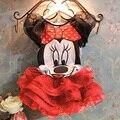 20176 Летних Девочек Одежда Устанавливает Милый Мультфильм Мышь футболка + Тюль Юбки Baby Girl Одежда для День Рождения Party Girl Экипировка