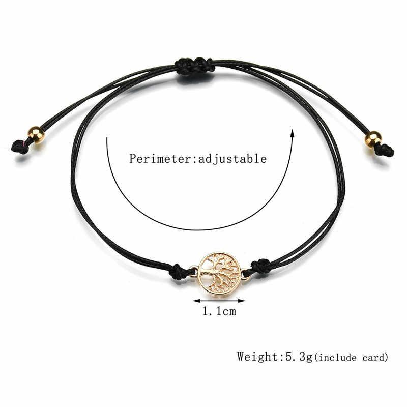 Ucky 赤糸調節可能なたい女性男性子供ゴールド生命の木の魅力ブレスレット最高の贈り物