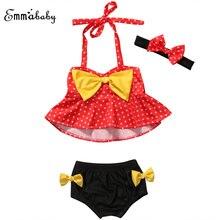 Одежда для маленьких девочек купальный костюм летний комплект в красный горошек Танкини бикини купальник летние купальные костюмы с завышенной талией